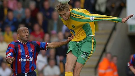 Peter Crouch in action for Norwich City against Crystal Palace. in September 2003 Picture: Archant