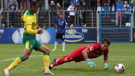 Young striker Adam Idah couldn't force home this late chance for the Canaries in Gutersloh Picture: