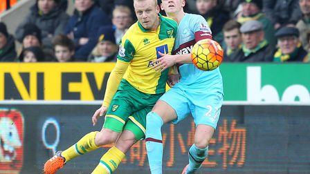 Sam Byram, right, grapples with Steven Naismith during West Ham's 2-2 Premier League draw with Norwi