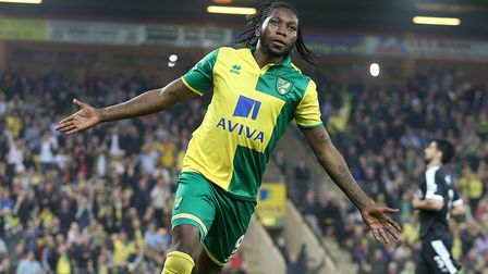Dieumerci Mbokani scored a double in a Premier League goodbye in May, 2016 Picture: Paul Chesterton
