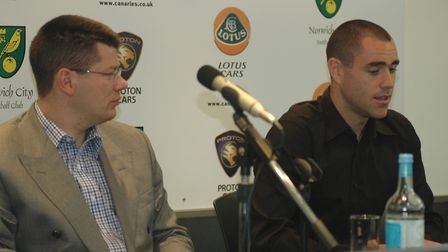 Neil Doncaster unveils Norwich City's signing back in 2006, Andrew Hughes. Picture: Nathan Clarke