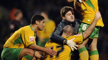 Andrew Hughes needs help following a nasty injury in Norwich City's 2005 clash with Southampton at C