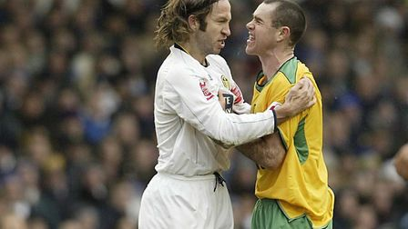 Leeds United's Shaun Derry squares up to Andrew Hughes during a Norwich City clash at Elland Road in