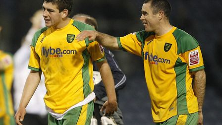 Andrew Hughes (right) and the man that became Norwich City's youngest ever debutant, Kris Renton, di
