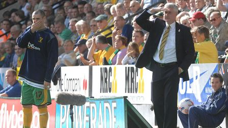 Norwich City manager Nigel Worthington in the final game of his reign - he was sacked following the