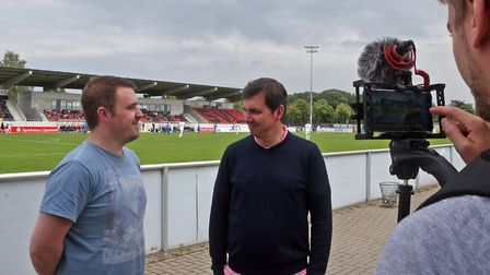 David Freezer, left, and Paddy Davitt discuss all the latest Norwich City issues at the home of SV L