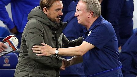 Daniel Farke led Norwich City to a 3-1 win over Neil Warnock, right, and Cardiff in the League Cup s