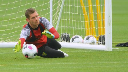 Norwich City football team training at Colney. Goalkeeper Michael McGovern. Picture: DENISE BRADLEY