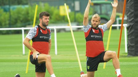 Norwich City football team training at Colney. Grant Hanley, left, and Teemu Pukki. Picture: DENISE