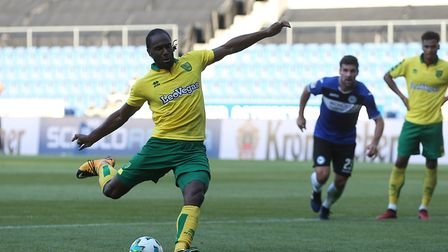 Cameron Jerome scored a penalty the last time Norwich City faced Arminia Bielefed in a friendly, two