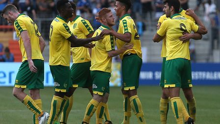 Nelson Oliveira celebrates scoring during Norwich City's 3-1 win over Arminia Bielefedl duing pre-se