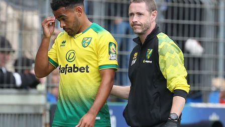 Louis Thompson of Norwich has to leave the match though injury during the Pre-season friendly match