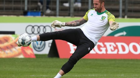 Ralf Fahrmann of Norwich warms up before the Pre-season friendly match at Energieversum Stadion, Gut