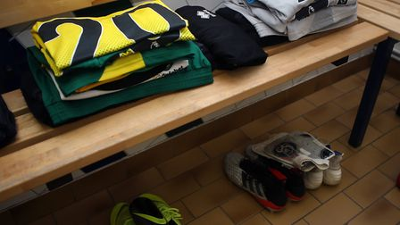 The shirts of Josip Drmic of Norwich and Ralf Fahrmann of Norwich in the dressing room before the Pr
