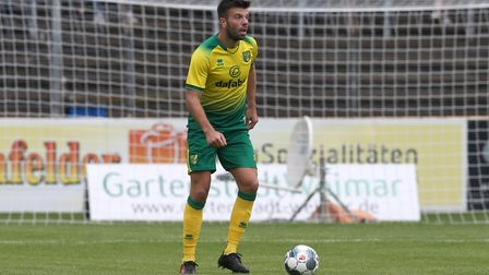 Grant Hanley of Norwich in action during the Pre-season friendly match at Energieversum Stadion, Gut