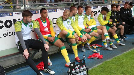 The Norwich bench before the Pre-season friendly match at Energieversum Stadion, GuterslohPicture by
