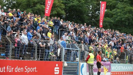 The traveling Norwich fans during the Pre-season friendly match at Energieversum Stadion, GuterslohP