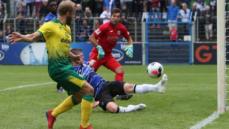 Teemu Pukki struck a post in the final seconds at Gutersloh Picture: Paul Chesterton/Focus Images Lt
