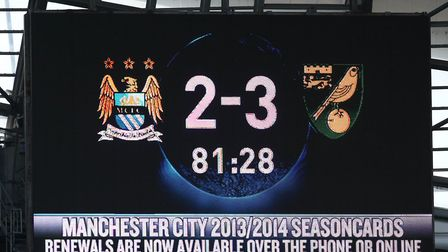 Sign of the times - the Etihad scoreboard after Jonny Howson's winner at the end of the 2012-13 seas