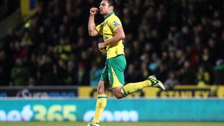 Russell Martin after scoring the first of his two goals against Manchester City in December, 2012 Pi