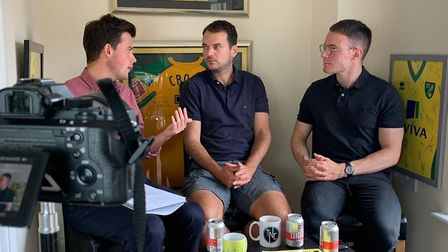 Talk Norwich City presenters Jack Reeve, left, and Chris Reeve, right, spoke to Norwich City's sport
