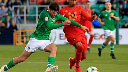 Rob Nizet, right, in action for Belgium against the Republic of Ireland at the U17 Euros in Ireland