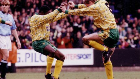 Ruel Fox and Lee Power (right) produce their iconic celebration, following Power's goal making it 2-