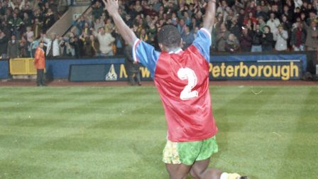 Ruel Fox celebrates Norwich City's famous knocking out of Bayern Munich at Carrow Road, in the 1993-