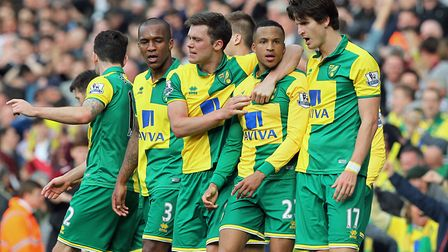 Martin Olsson, second right, enjoys the moment Picture: Paul Chesterton/Focus Images Ltd