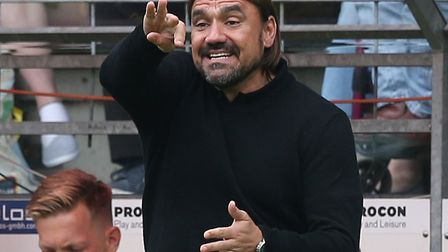 Daniel Farke gets his point across in the first friendly of the summer against Arminia Bielefeld Pic