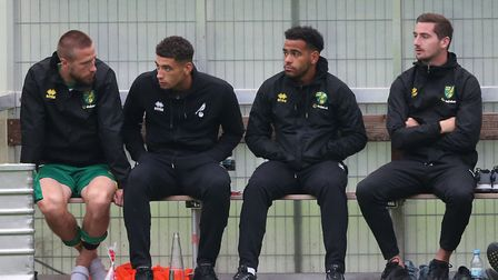 Norwich City players, from left, Marco Stiepermann, Ben Godfrey, Louis Thompson and Kenny McLean wat