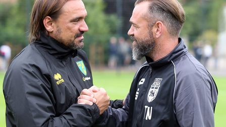 Daniel Farke greets SC Bonner manager Thorsten Nehrbauer before the practice game Picture: Paul Ches