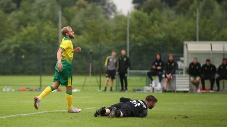 Teemu Pukki of Norwich scores his sides 4th goal during the Pre-season friendly match at Hotel-Resid