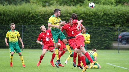 Grant Hanley of Norwich heads for goal during the Pre-season friendly match at Hotel-Residence Klost