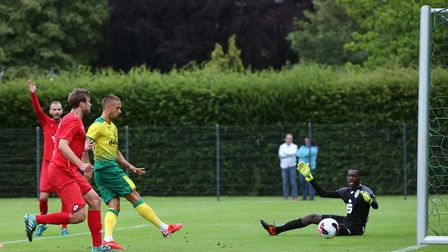"Moritz Leitner of Norwich puts the ball in the net but the ""goal"" is ruled out for offside during th"
