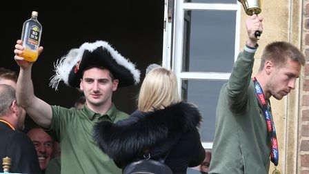 Temporary 'mayor of Norwich' Kenny McLean enjoys the civic reception celebrations following Norwich