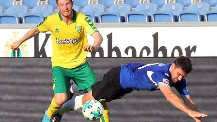 James Husband featured in Norwich City's 3-1 friendly win against Arminia Bielefeld in 2017 Picture:
