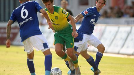 Todd Cantwell wriggles out of a tight space against Schalke 04 Picture: Paul Chesterton/Focus Images