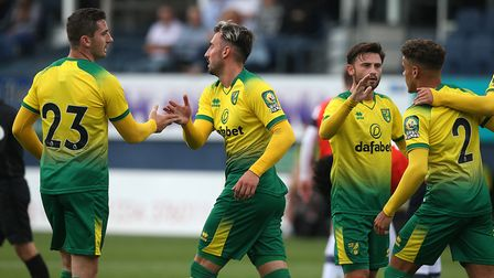 Josip Drmic of Norwich celebrates scoring his sideÕs 3rd goal during the Pre-season friendly match a