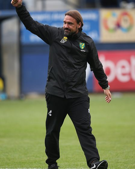 Norwich Head Coach Daniel Farke acknowledges the traveling Norwich fans at the end of the Pre-season