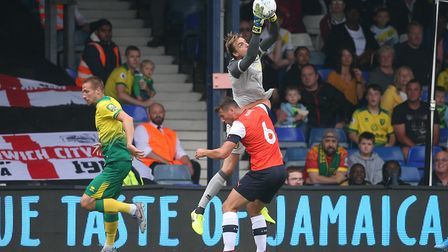 Tim Krul of Norwich collects the ball safely during the Pre-season friendly match at Kenilworth Road