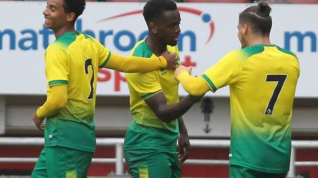 Dialling Jaiyesimi of Norwich celebrates his goal during Leyton Orient vs Norwich City, Friendly Ma