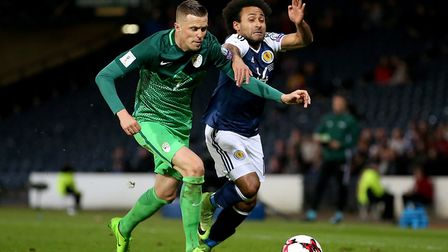 Josip Ilicic, left, in action fro Slovenia, scored as Atalanta were beaten 2-1 at Swansea at the wee