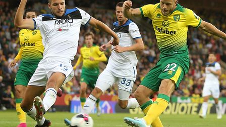 Teemu Pukki was never far from the action in Norwich City's 4-1 defeat to Atalanta Picture: Paul Che