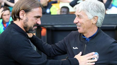 Daniel Farke greets his counterpart from Atalanta Picture: Paul Chesterton/Focus Images Ltd