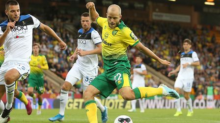 Teemu Pukki came close to scoring on four occasions during City's 4-1 friendly loss to Atalanta Pict