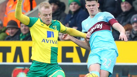 Steven Naismith tussles with Sam Byram during his Norwich City spell Picture: Paul Chesterton/Focus