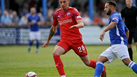 Norwich City U23 striker Anthony Spyrou in trial action for Chesterfield Picture: Derbyshire Times