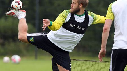 Teemu Pukki has been in the thick of the action for Norwich City during pre-season Picture: Paul Che