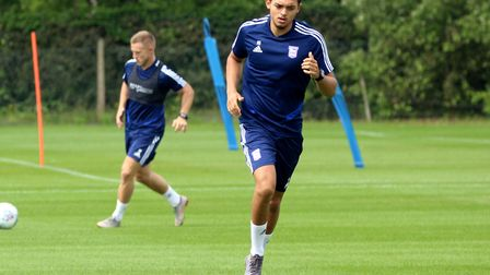 Andre Dozzell pictured in pre-season training for Ipswich Town Picture: ROSS HALLS